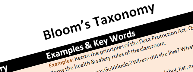 Resources: lesson plan proforma & Bloom's taxonomy for ICT